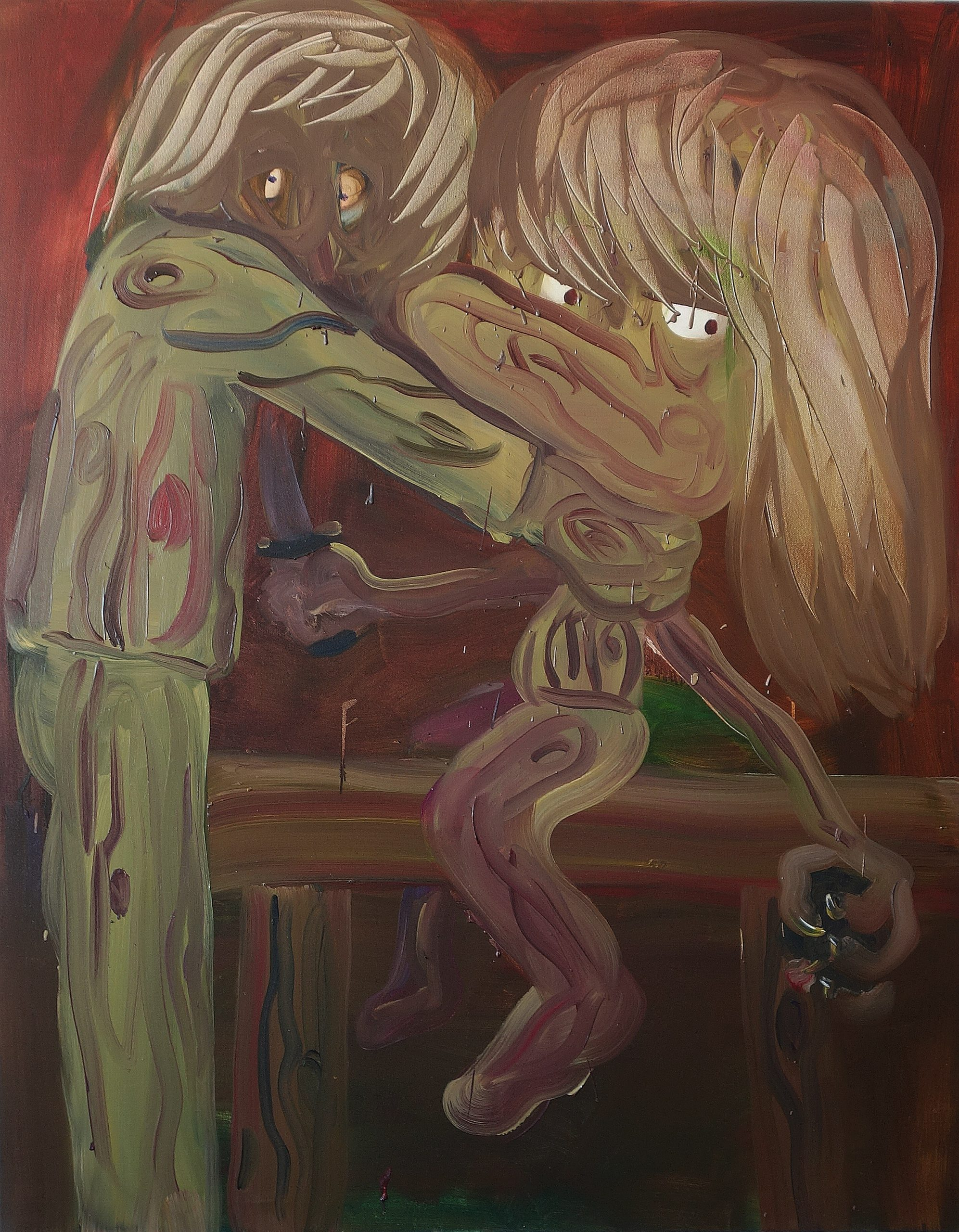 Who, to whom, when, where and why , oil on canvas, 150X125, 2018